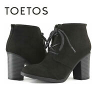 TOETOS  Women's Lace Up Ankle Boots Chunky Heel Side Zipper Boots