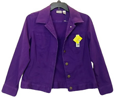 New Chicos Blazer Jacket Size 1 Purple Button Front Long Sleeve Cotton Corduroy