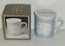 Elephant Mug Cup Lidded Covered By Toscany NEW In Box Ceramic Japan