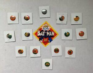VINTAGE - BATMAN 14 Pin Set MOC w Label - 1966 Robin Joker Riddler