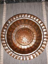 Engraved Forged Copper Bowl Persian Designed Antique Vintage