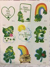 1 VINTAGE 80's agc Care Bears Irish 🍀  sticker sheet 99 cents ships all