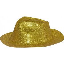 borsalino plastique thermoformé pailleté doré rigide chapeau  deguisement jeux