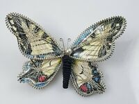 Vintage Butterfly Brooch Pin Wire Wrapped Faux Pearl Silver Tone String Black