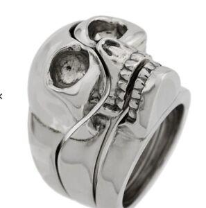 Alexander Mcqueen Skull Ring 3 Piece | Divided | RRP £270 | Silver-Tone Brass