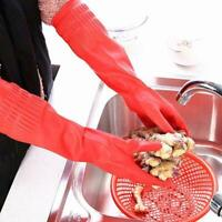 Kitchen Washing Gloves Long Waterproof Rubber Latex Fruit Dish Cleaning E7Y0