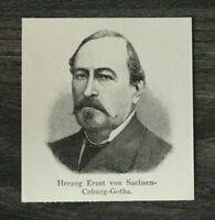 HO4) Holzschnitt 1885-1900 Herzog Ernst von Sachsen Coburg Gotha Adel Monarchie