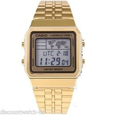Casio A500WGA-9D World Time Digital Stainless Steel Watch WORLD MAP Gold NEW