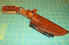 Custom Leather Sheath Fits MORA Companion HD Knife, RH  Dangle,  Ferro Rod Brown