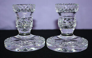 2 Waterford Crystal Single Light Candlestick Holders ~ MARKED ~ Made In Ireland