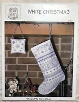 Rosewood Manor White Christmas Cross Stitch Pattern Stocking Ornament Chart EUC