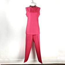 Vintage Pink Silk High Collared Sequin Pant set Size Small
