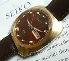 Burgundy Dial Vintage 1972 Men's Seiko DX 17J Automatic Day Date Watch 6106-8439
