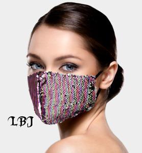 Bling Flip Reversible Sequin * Pink Purple Silver Fashion Face Mask Adjust Reuse