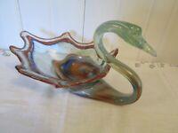 Vintage Swan Murano Style Venetian SOONER Art Glass Silver Green Orange Clear