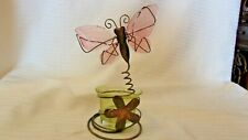"""Metal and Glass Butterfly with Flower Votive Candle Holder 6"""" Tall"""