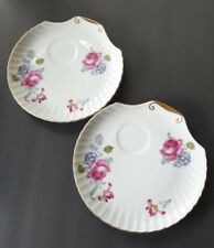 UCAGCO Fine China Set of 2 Snack Plates Ribbed Shell Flowery Pattern