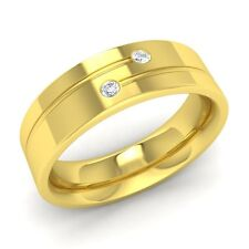 Solid 10k Yellow Gold Men's Wedding Ring With Certified SI Diamond- Free Engrave