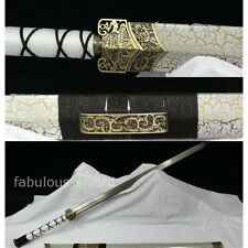 42' WHITE FULL TANG BLOOD GROOVE 1095 CARBON STEEL BLADE  CHINESE HAN SWORD