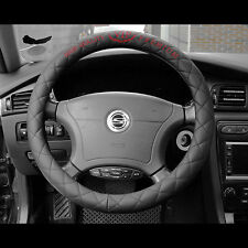 VIP Black diamond Stitch Non Slip Steering Wheel Cover fit 38cm Diameter Black