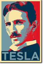 NIKOLA TESLA PHOTO PRINT 2 POSTER GIFT (OBAMA HOPE INSPIRED) COIL INVENTION
