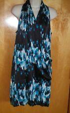 NWT NEW womens size S aqua blue black white watercolor DEREK LAM wrap dress $64