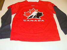 2011-12 Team Canada Age 12/14 Logo Fooler with Thermal Sleeves T Shirt Red