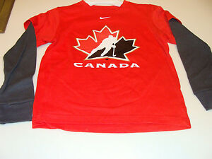 2011-12 Team Canada Age 6x7 Logo Fooler with Thermal Sleeves T Shirt Red
