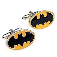 BATMAN CUFFLINKS Super Hero Bat Signal GIFT BAG Pair Men's Accessory Comic Book