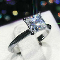 2 Ct Princess Cut Diamond Solitaire Engagement Ring In 14K White Gold Finish