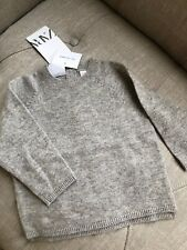 New Zara Baby Toddler Boy Girl 100% Cashmere Light Grey Pullover Sweater 9-12M