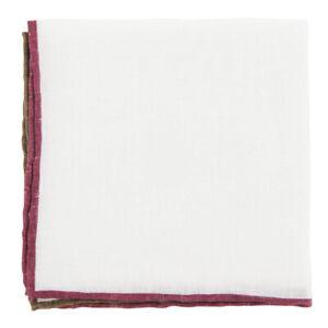 $100 Fiori Di Lusso White Solid Linen Pocket Square -  x  - (914)