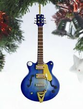 "Miniature 5"" Navy Hollow Body Electric Guitar Hanging Tree Ornament OGC12N"