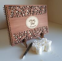 Deluxe A4 size,Wooden Wedding Guest Book, stained, varnished, party, birthday