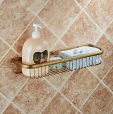 Antique Brass Single Layer Shelf Washing Shower Basket Storage Shelves qba031