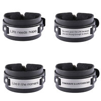 Engraved Life Live Inspirational Saying Leather Bracelet Stainless Steel