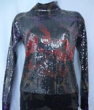 Auth ETRO MILANO Paisley Multicolor SEQUINS Embellished Long Sleeve SWEATER Top