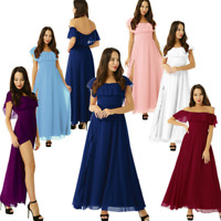Womens Off the Shoulder Chiffon Bridesmaid Dress Wedding Evening Party Prom Gown