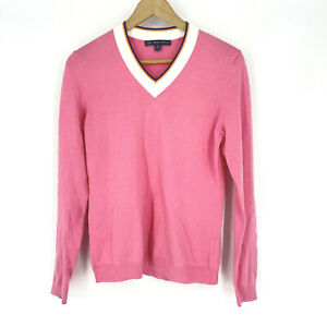 Brooks Brothers 346 Sweater Size Medium Women Pink White Trim V Neck Cotton Knit