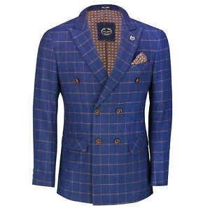 Mens Double Breasted Blazer Orange on Blue Window Check Tailored Fit Suit Jacket