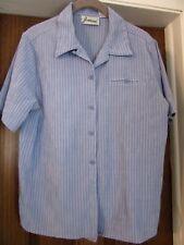 "Fashion! Rayon Blend Lovely Blue S.S. Medium 40"" Bust Pin Stripe 1 Pocket Blouse"