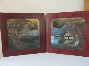 2 UNUSUAL ORIENTAL LACQUER PANELS PAINTED WITH LANDSCAPES