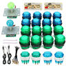 KIT 20 LED ARCADE PUSH PULSANTI + 2 JYSTICK +2 USB ENCDER KIT GIC DIY MAME  ❤ *