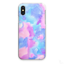 WATERCOLOUR PRINT PHONE CASE PINK BLUE HARD COVER FOR APPLE SAMSUNG HUAWEI