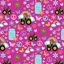 John Deere Farm Fresh Tractor Peace Sign Milk Can Pink Cotton Fabric by the Yard