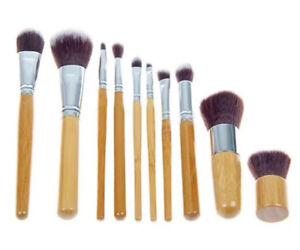 BAMBOO 10pc Eco Friendly Cruelty Free Cosmetic KABUKI Make Up Brush Set Pouch UK