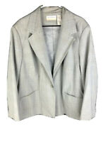 ALFRED DUNNER Womens Size 22W Gray Blue Stripe Button Blazer Jacket Long Sleeve