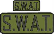 S.W.A.T. embroidery patch 4x10 and 2x5 hook white letters Od green background