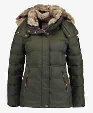 Womens Ladies Quilted Padded Fur Collar Warm Jacket Coat Outerwear Feather & Dow