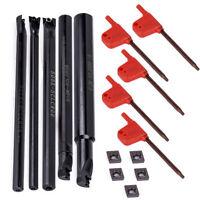 5pcs 6/7/8/10/12mm Boring Bar Holder Lathe Turning Tool + 5pcs CCMT0602 Inserts
